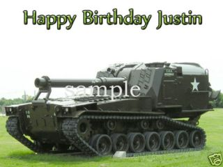 MILITARY ARMY Tank Edible CAKE Image Icing Topper