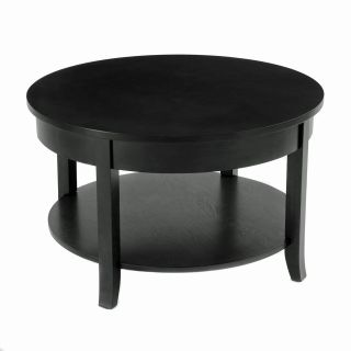 Collection 30 Round Black Coffee Table with Lower Shelf Living Room