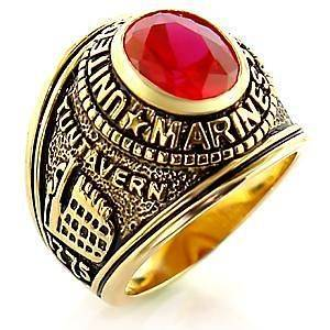 GOLD PLATED SIMULATED RUBY USMC MARINE CORPS SURPLUS MENS RING SIZE 10