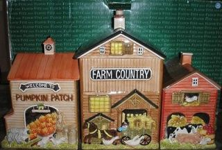 Fitz & Floyd Farm Country Animals Barn Canister Set   RARE & HTF ~ NEW