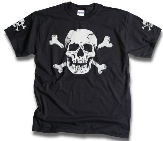 Skull Bones Mens Womens Pirate Biker t shirts Sm   3XL