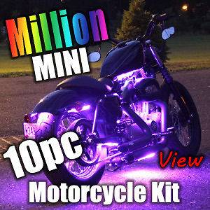10pc MILLION COLOR MINI SMD LED MOTORCYCLE LIGHT KIT