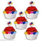 12 Childrens Birthday Party BALLOONS Cupcake Wrappers Wraps