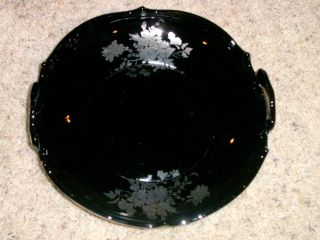 BLACK AMETHYST GLASS HANDLED FRUIT BOWL WITH SILVER FLORAL DESIGN