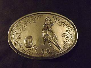 SILVER​TONE SOUTHWESTERN STYLE RODEO BARREL RACING RIDER BELT BUCKLE