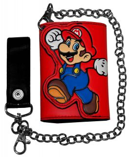 Mario Super Mario Bros Nintendo Video Game Trifold Wallet With Chain