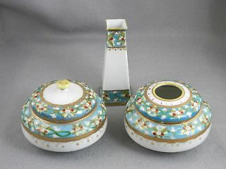 Nippon Vintage 5 Piece Hand Painted Ladies Dresser / Vanity Set
