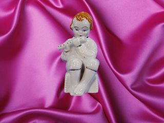 Occupied Japan LITTLE BOY PLAYING FLUTE Figurine 3 1/2