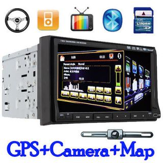 Touch Screen Double Din In dash Car DVD Player GPS Navigation+CAMERA