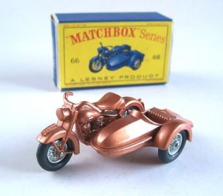 MATCHBOX LESNEY 66b HARLEY DAVIDSON MOTORCYCLE and SIDECAR, 1962, MIB