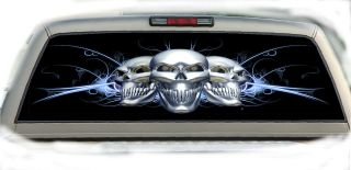 Skulls Blue Arching Rear Window Graphic Tint Decals