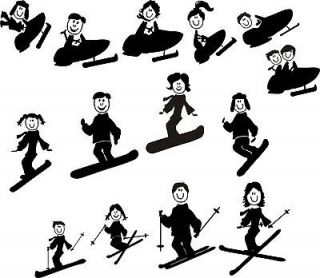 SNOW BOARDSKI .STICK FIGURE FAMILY REAR CAR WINDOW DECAL