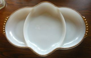 Fire King Divided 11x7.5 Ovenware Dish white gold trim