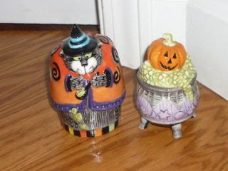 Fitz Floyd HALLOWEEN KITTY WITCHES BIG FAT WITCH CAT salt and pepper