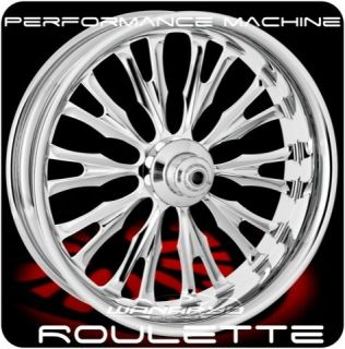 CHROME PERFORMANCE MACHINE ROULETTE FRONT REAR WHEELS & TIRES HARLEY