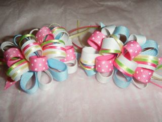 Polka Dot / Sheer Girls Ribbon Hair Bow Barrette Clips
