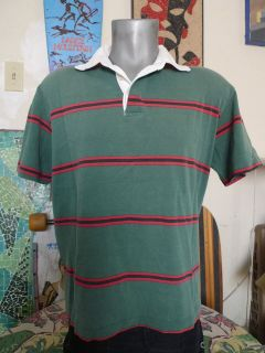 80s Vintage BENETTON Striped Rugby Polo Shirt Medium ITALY