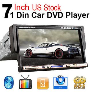 Single 1 Din 7 Car Stereo DVD Player CD VCD Ipod TV  Bluetooth