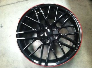 C6 ZR1 18X9.5 19X12 Corvette Black Red Stripe fits C6 Z06, Grand Sport