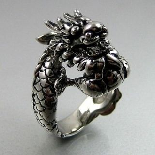 Biker Mens Black Silver Stainless Steel Dragon Sharp Claw Ring Size 9