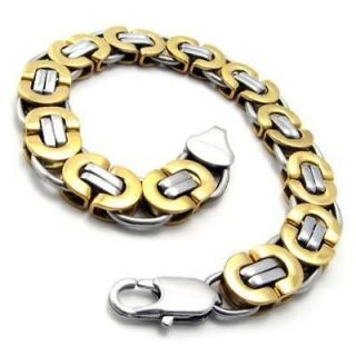 Stainless Steel Wide Golden Mens Bracelet