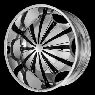 22 STARR 619 CHROME WHEELS BLACK Inserts Rims+Tires PKG 5x112 FWD 20
