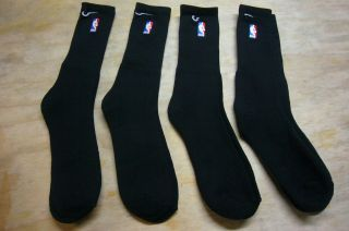 PAIR Mens NBA Basketball LONG SOCKS Sewn Logo BLACK Authentic New