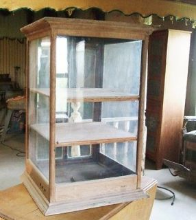 Oak Table Top Display Cabinet from Mercantile Store   Tobacco Humidor