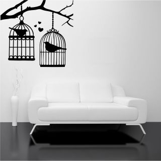 BRANCH TREE BIRDS LOVE WALL ART STICKERS DECAL MURAL STENCIL TRANSFER