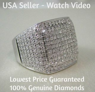 MENS WHITE GOLD FINISH PAVE DIAMOND ENGAGEMENT WEDDING PINKY RING
