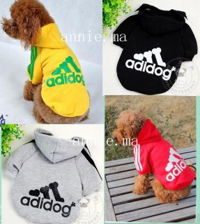 New Pet Puppy Dog Clothes Clothing Hooded T Shirt Size S  M  L XL  XXL