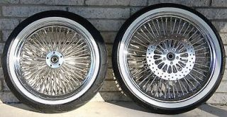 52 FAT DADDY SPOKE CHROME WHEELS 4 HARLEY FLHT WITH WHITE WALL TIRES
