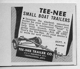 1950 Vintage Ad Tee Nee Small Boat Trailers Younstown,Ohio