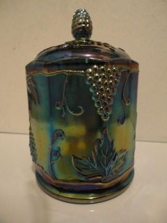 INDIANA GLASS VINTAGE HARVEST GRAPE BLUE CARNIVAL GLASS CANISTER
