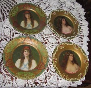 Vienna 4 Tin Victorian Art Charger Plate Set Gypsie & Lady in Lace 10
