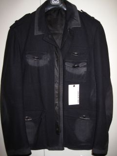 NEW MEN NEIL BARRETT BLACK LEATHER COAT SZ L $1875 BARNEYS NEW YORK