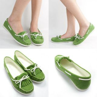 GREEN SUEDE WHITE FRINGE BOW TIE ROUND TOE OXFORD MOCCASIN BALLET FLAT