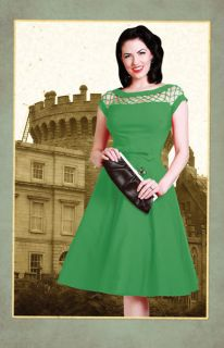 Bettie Page Clothing Alika Circle Dress in Green