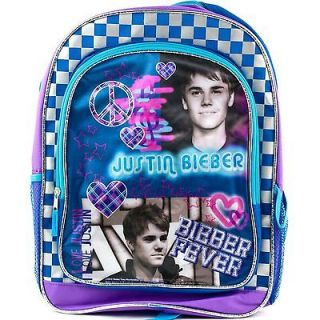 JUSTIN BIEBER Girls BACKPACK School Book Bag 16 Full Size Fever Peace