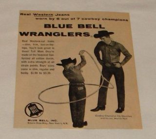 1960 Blue Bell Wranglers ad ~ JIM SHOULDERS