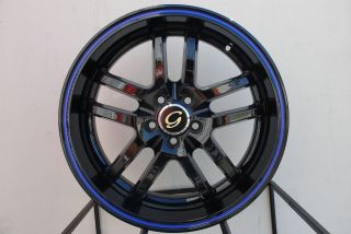 LINE G817 WHEEL 5X100/114.3 +38 BLACK BLUE RIM FITS CELICA CIVIC RSX