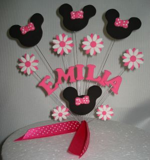 MINNIE MOUSE WIRED CAKE TOPPER PINK FLOWERS BIRTHDAY NAME