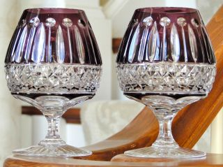 CASED CUT TO CLEAR CRYSTAL BRANDY GLASSES, AMETHYST/PURPL​E, SIGNED