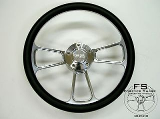 Billet Steering Wheel Black Halfwrap Set 55 Chevy Chevrolet GMC Buick