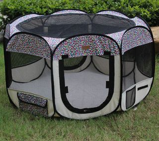 Pink Leopard Pet Dog Cat Tent Playpen Exercise Play Pen Soft Crate