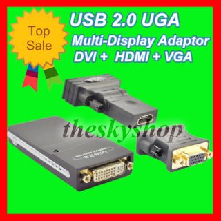 New Video Card USB 2.0 To DVI VGA HDMI Display Adapter #UA CA#A