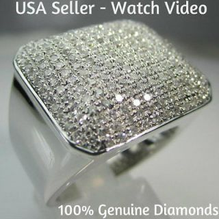 20 CARAT MENS WHITE GOLD FINISH PAVE DIAMOND ENGAGEMENT WEDDING