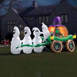 Illuminated Ghastly Stagecoach Outdoor Blow Up Halloween Lawn Decor