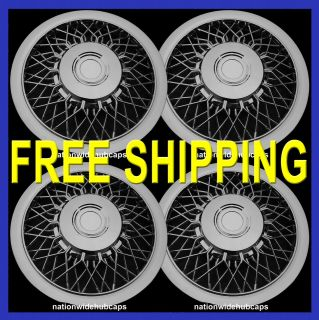 SET OF 4 15 CHROME WIRE SPOKE HUB CAPS FULL WHEEL COVERS RIM WHEELS