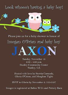 Personalized Baby Boy Shower Invitation ~ Owl ~ Look WHOOOs Having a